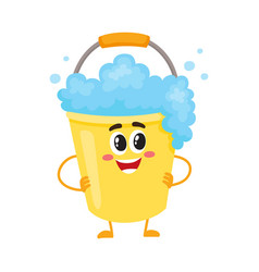 funny soap foam bucket character with smiling vector image vector image