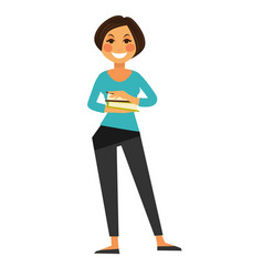 Happy woman with books vector