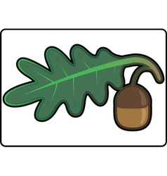 Icon in the form of oak leaves and acorn vector image