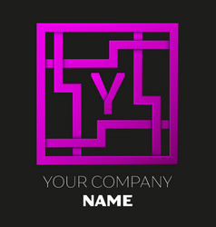 Letter y symbol in colorful square maze vector