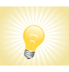 Lightbulb with light beams vector