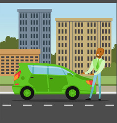 Man showing electric car safe for the environment vector