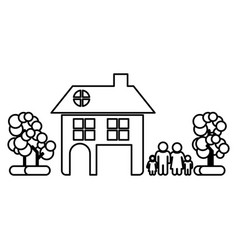 Monochrome contour of family away from home in vector