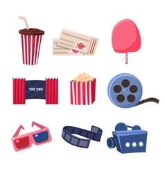 Movie theatre related objects set vector