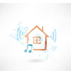 Music home grunge icon vector image vector image