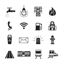 Public Utility Icons Silhouette Set vector image