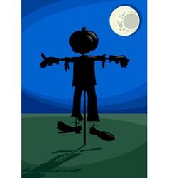 scarecrow at night cartoon vector image