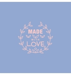 Simple floral blue hand made trademark vector