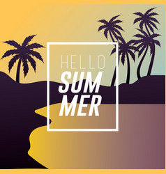 Sumer vacation in the island with palm trees vector