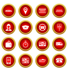 taxi icon red circle set vector image