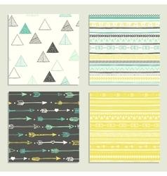 Tribal hand drawn background ethnic pattern set vector