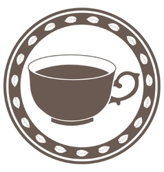Vintage cup of tea label vector