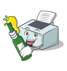 With beer printer mascot cartoon style vector