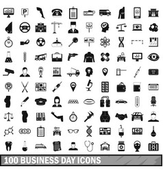 100 business day icons set simple style vector