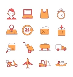 Big linear icons set of logistics and vector