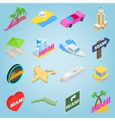 Miami set icons isometric 3d style vector image