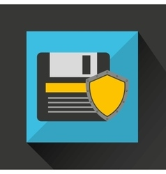 floppy security system technology shield vector image