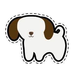Puppy domestic mammal cut line vector