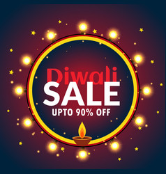 Beautiful diwali sale banner with light bulbs and vector