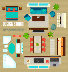 Design studio concept with top view apartment vector