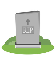 Grey gravestone with cross on green grass flat vector