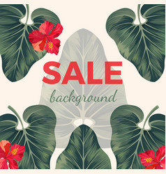 Sale background with exotic tropical leaves and vector