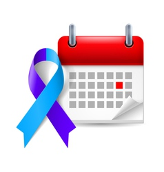 Blue and purple awareness ribbon and calendar vector
