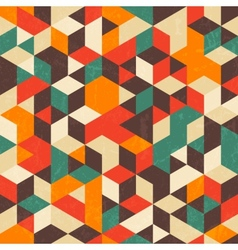 Retro geometric pattern with grunge texture vector image