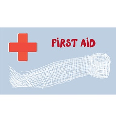 First aid banner with red cross and bandage - hand vector