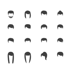 Hair silhouettes woman and man hairstyle vector