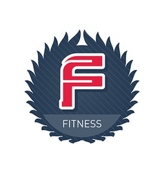 Fitness - sports and recreation label or heraldic vector