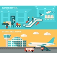 Banner airport set vector