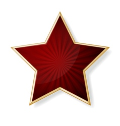 Red star with gold edging isolated on white vector