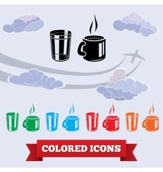 Cup of tea glass icons drink symbol black red vector