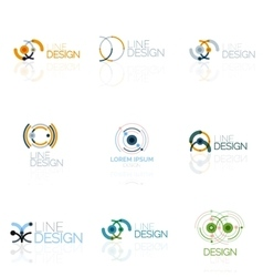 Linear abstract logo set circles loops and vector
