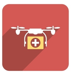 Medical drone flat rounded square icon with long vector