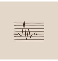 Hheart beat cardiogram sketch icon vector