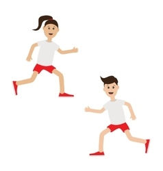 Funny cartoon running girl and boy cute run woman vector