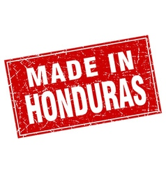 Honduras red square grunge made in stamp vector