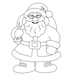 Santa Claus with bag of gifts outline vector image