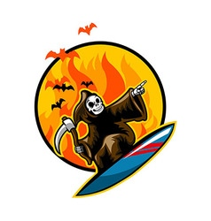 Grim Surfing on Flame vector image