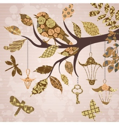Scrap-booking background of tree branch vector image