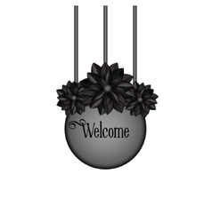 Design element with black flowers in gothic style vector