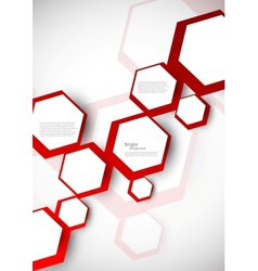 Background with red hexagons vector image vector image
