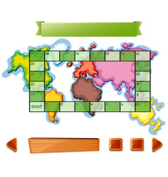 Boardgame template with worldmap background vector