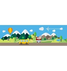 Cartoon landscape colored flat vector image