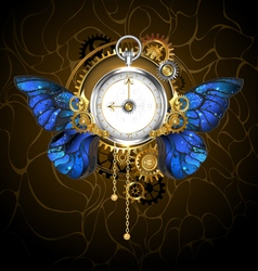Clock with blue butterfly wings vector