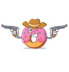 Cowboy donut character cartoon style vector