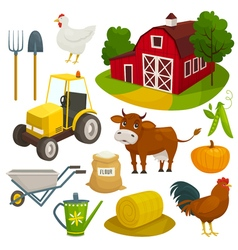 Farm objects set isolated on white cartoon vector image vector image