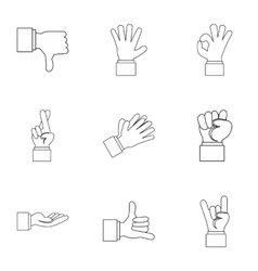 Fingers icons set outline style vector